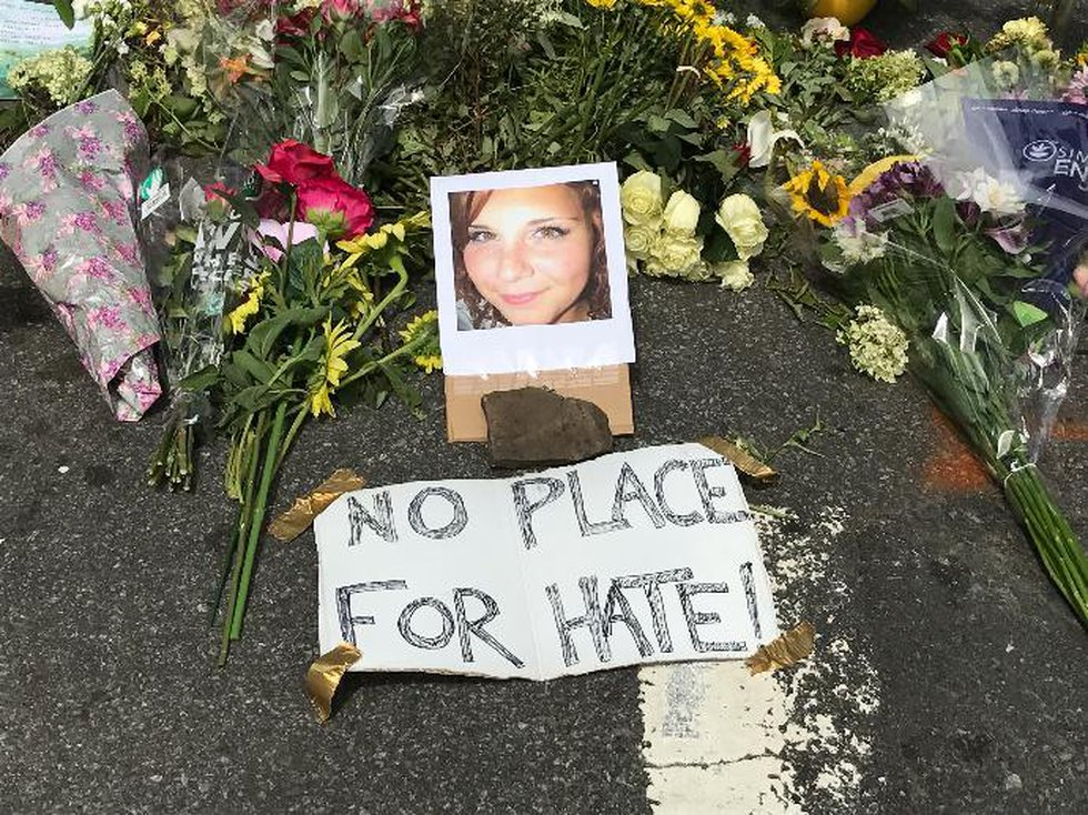 A memorial to Heather Heyer on the street where she was killed.