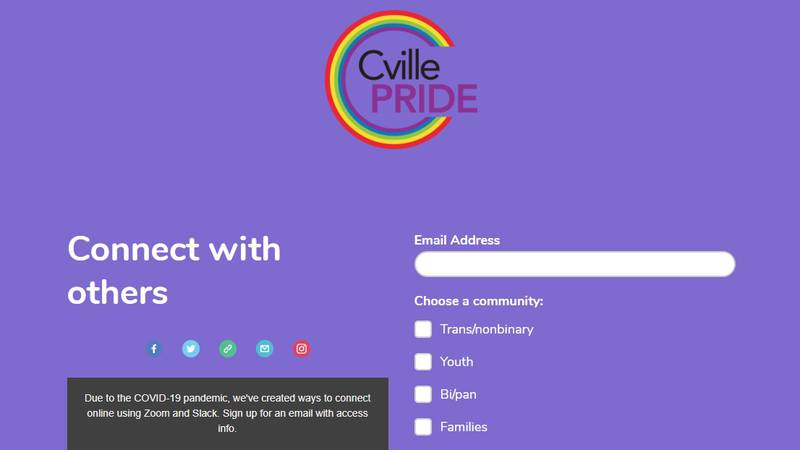The C'ville pride page where you can sign up for virtual meetings.
