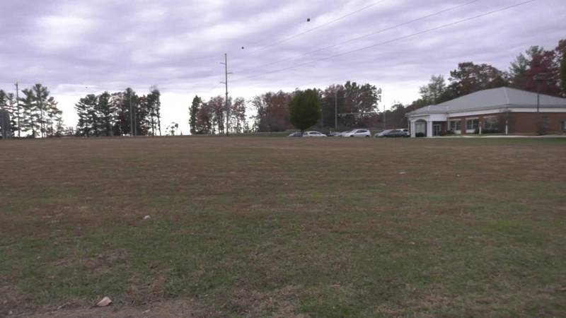 The land where the proposed Crossing Pointe development would go.