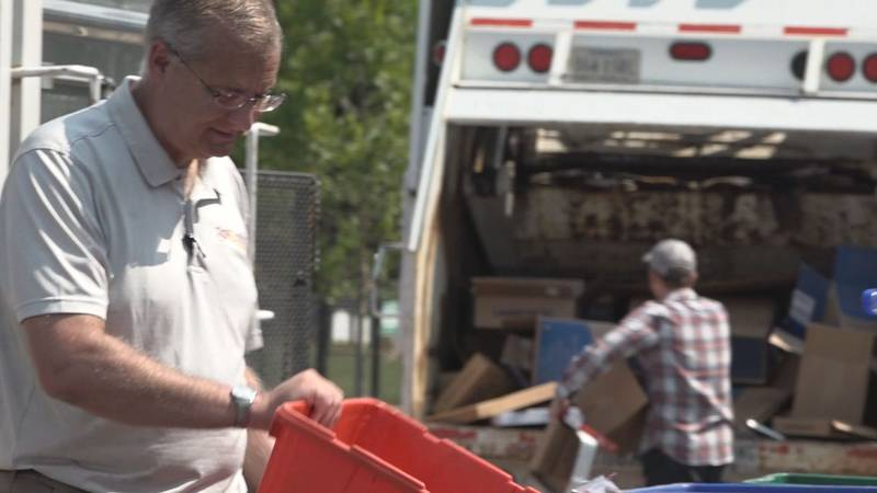 Jeff Johnston helps sort plastics on Thursday, August 12 at 11 a.m. at Staunton's Recycling...