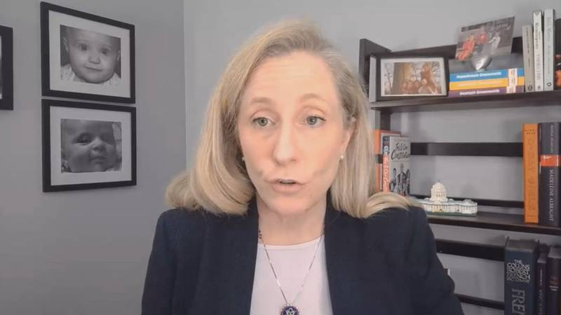 Rep. Abigail Spanberger answers a question during a telephone town hall on January 27, 2021.