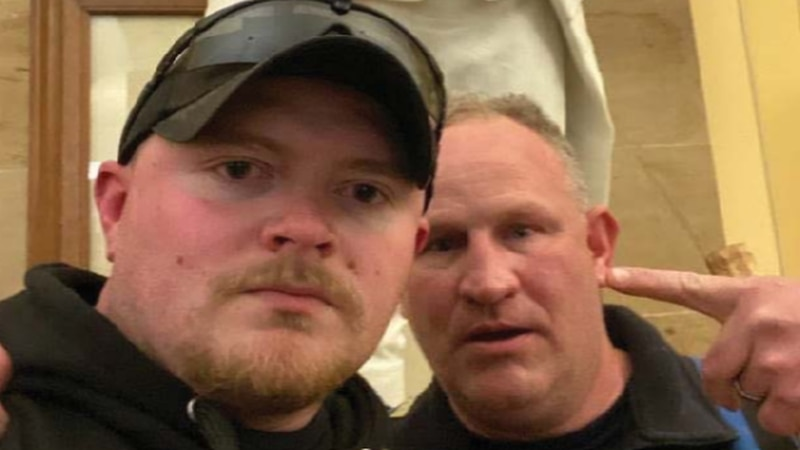Sergeant Thomas Robertson, right, and Officer Jacob Fracker, left, posted this photograph of...