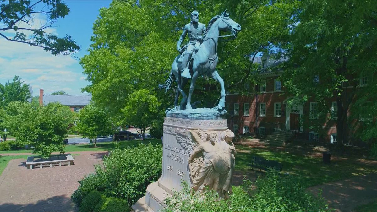 The Stonewall Jackson statue in Charlottesville's Court Square Park.