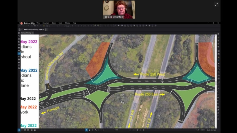 Map of the new diverging diamond pattern for the intersection of I-64 and 250 near Pantops