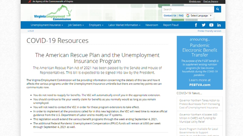 The Virginia Employment Commission releases key points in how the recently signed relief...