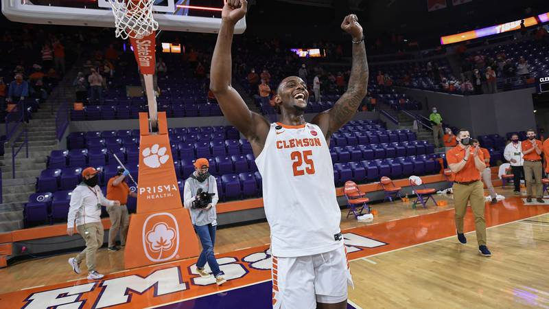 Clemson forward Aamir Simms (25) reacts after the Tigers 77-62 win over Pitt on Senior Day...