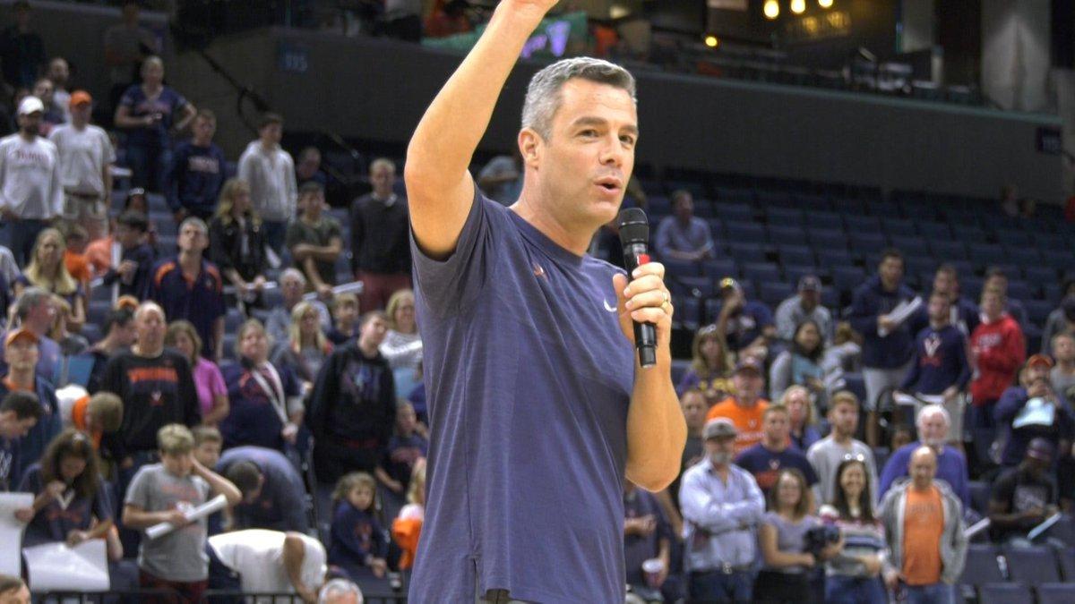 Virginia men's basketball head coach Tony Bennett announcing the signing of guards Jabri...