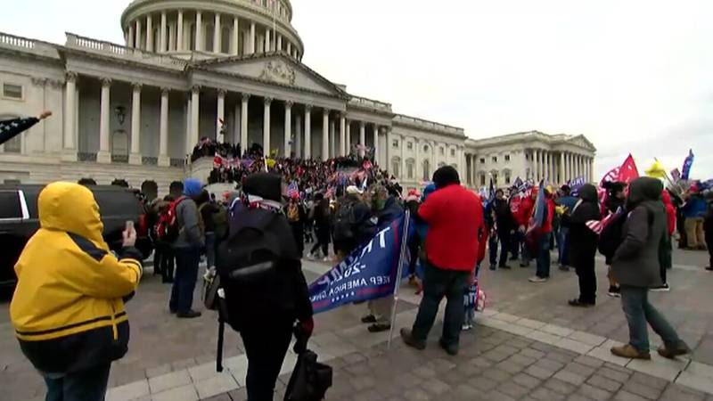 Protesters outside the Capitol building on January 6.