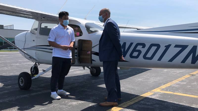 TJ Kim piloted Cessna aircraft with packages full of PPE meant for John Randolph Medical Center.