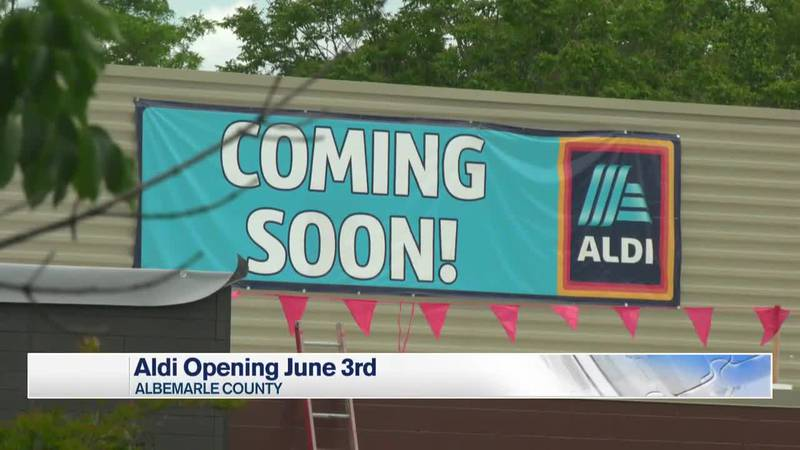 Coming soon sign hangs on the Aldi Store set to open in June.