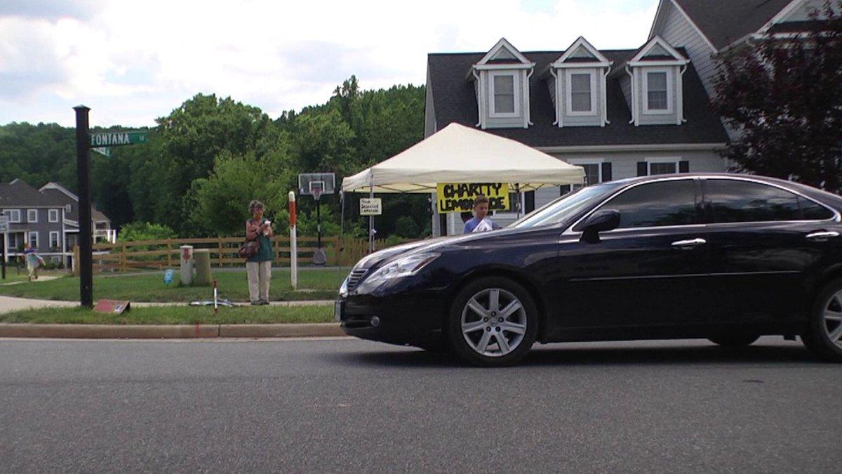 Charity Lemonade set up in the Pantops area of Albemarle County.