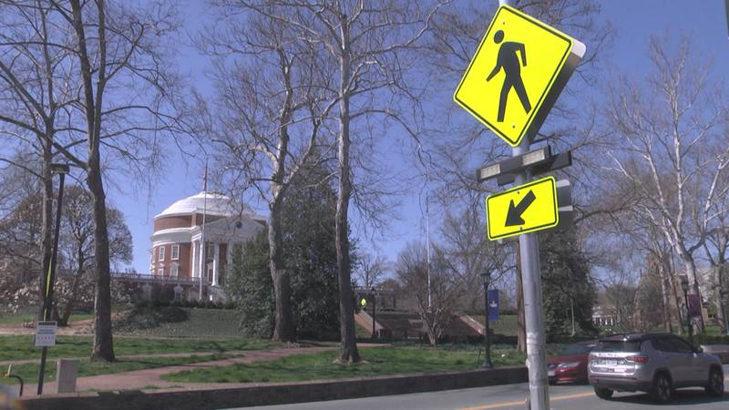 One of the flashing pedestrian crossing signs outside UVA's Rotunda.