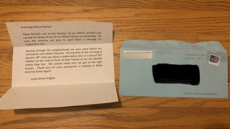 Henrico police and federal agencies are investigating after a resident received a racist letter...