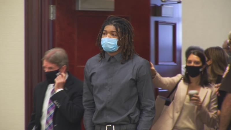 Isimemen Etute in court for a preliminary hearing.