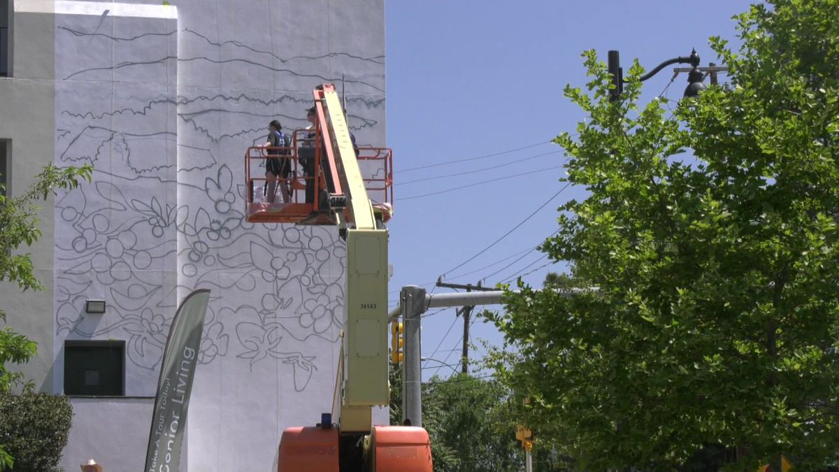 Two artists paint a mural in Crozet.