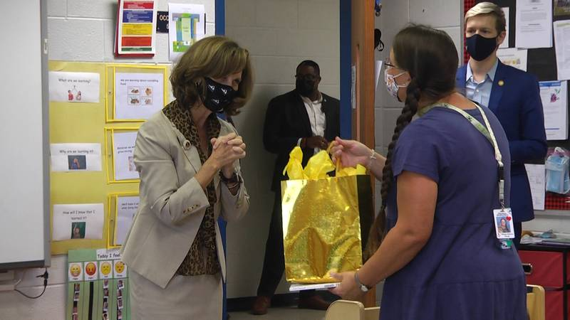 Pamela Northam stopped at Clymore Elementary School in Augusta County on a back-to-school tour.