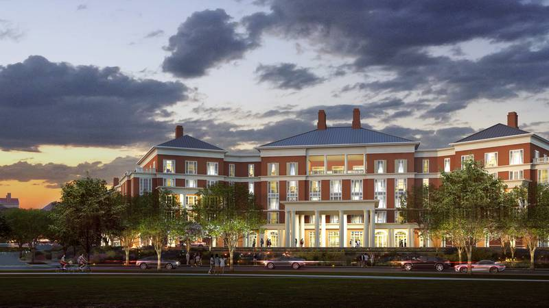 An artist's rendering of the new UVA Inn at Darden.