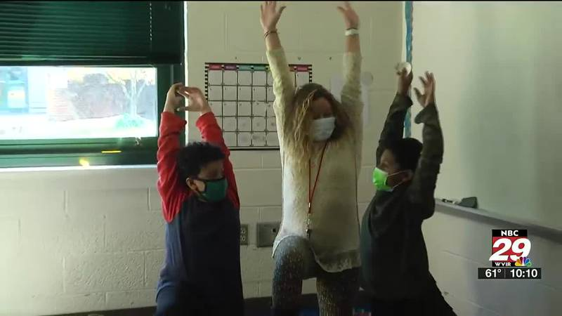 Students doing yoga during WIN time at Westwood Hills Elementary School in Waynesboro.