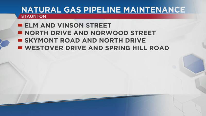 Columbia Gas will be working on Staunton's natural gas pipes on Wednesday, June 30.