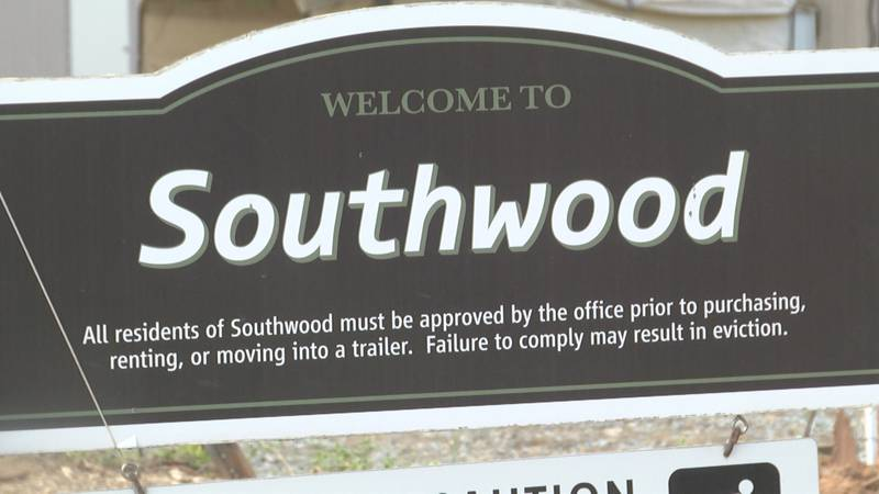 The entrance sign at Southwood Mobile Home Park, which is being redeveloped into standalone...