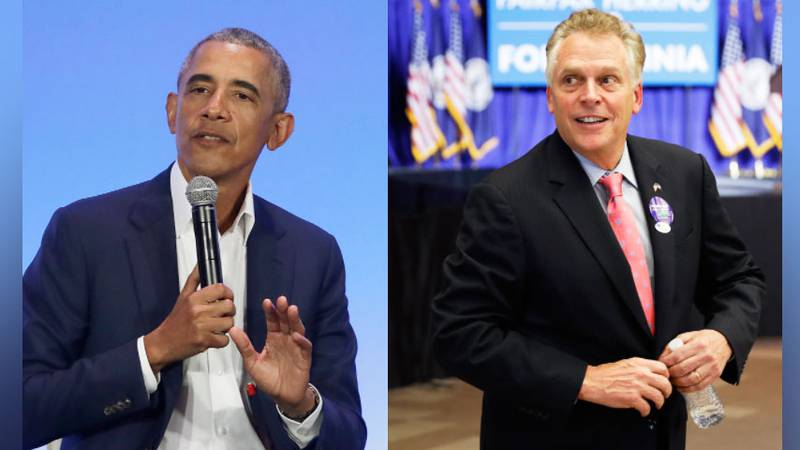 Former President Barack Obama and Democratic gubernatorial candidate Terry McAuliffe.