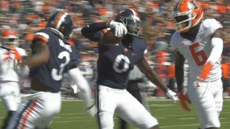 Jelani Woods scored the first TD of his Cavalier career on Sunday against Illinois.