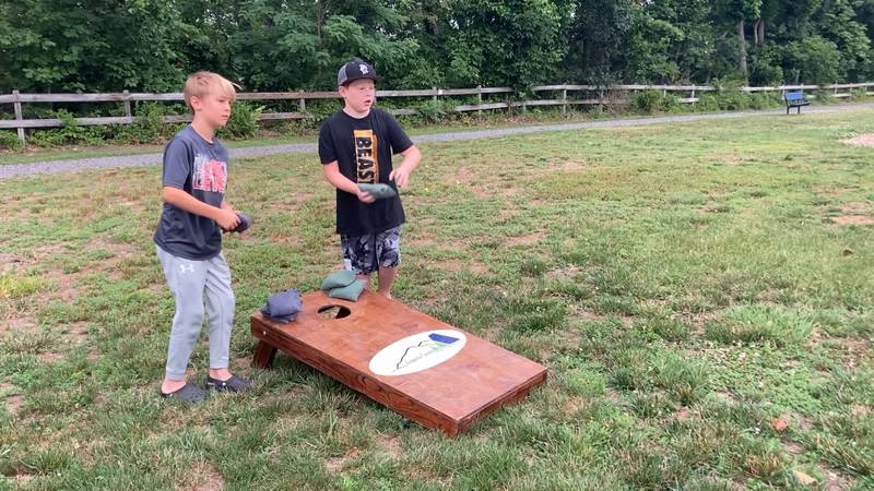 A couple of boys who live in Crimora enjoy activities from Augusta County's new Rollin'...
