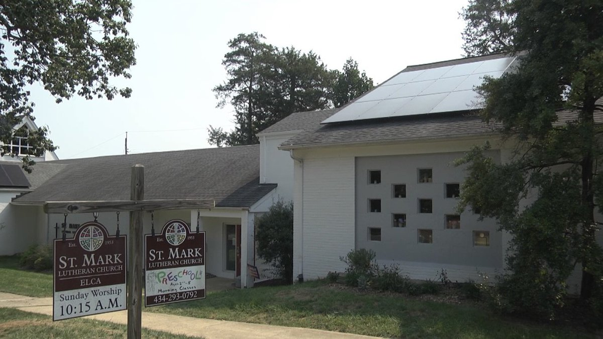 The outside of St. Mark Lutheran Church and some of its new solar panels.