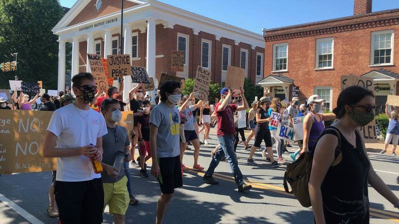 Hundreds of Black Lives Matter protesters take to the streets of Charlottesville