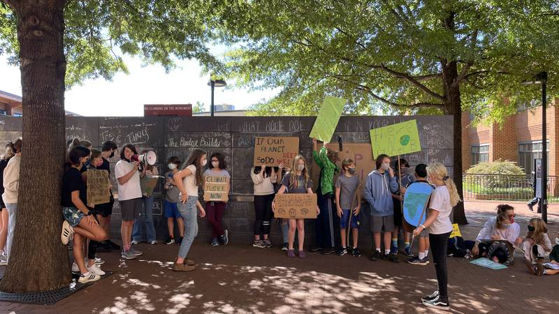 Youth Climate Strike on Charlottesville's Downtown Mall.