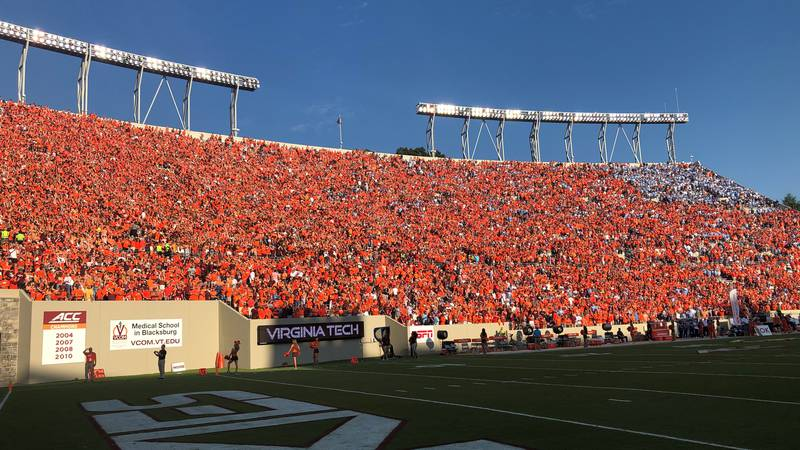 Hokie nation fills the stands at Lane Stadium for the sold out home-opener against UNC on...