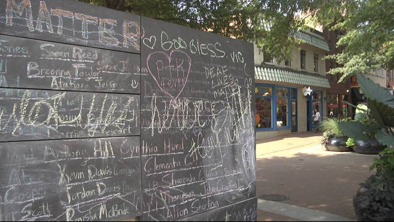 The Community Chalkboard on the Downtown Mall