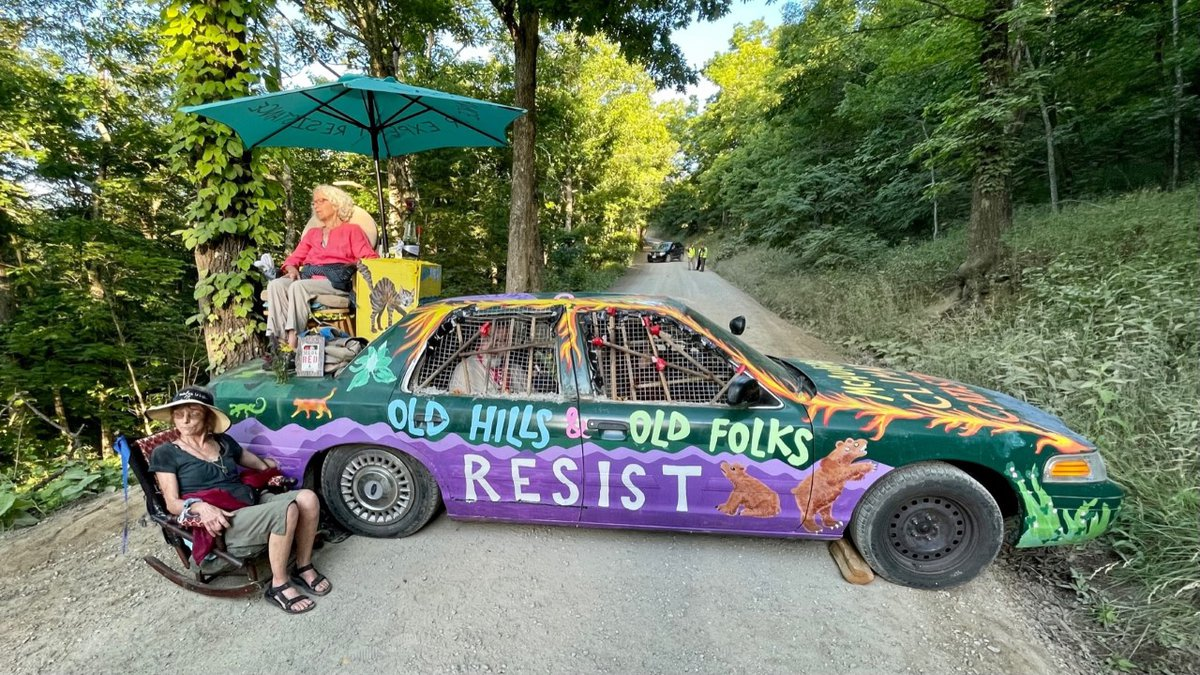 Opponents of the Mountain Valley Pipeline locked themselves to a car, blocking access to a work...