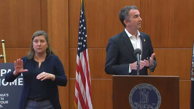 Gov. Ralph Northam holding a press conference in Richmond
