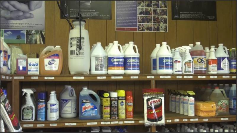 Cleaning supplies at Charlottesville Sanitary Supply